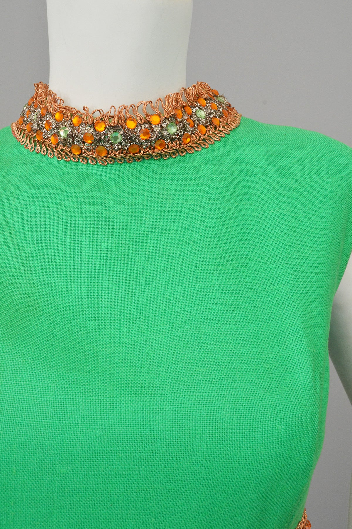 Kelly Green and Copper 70s vintage midi dress