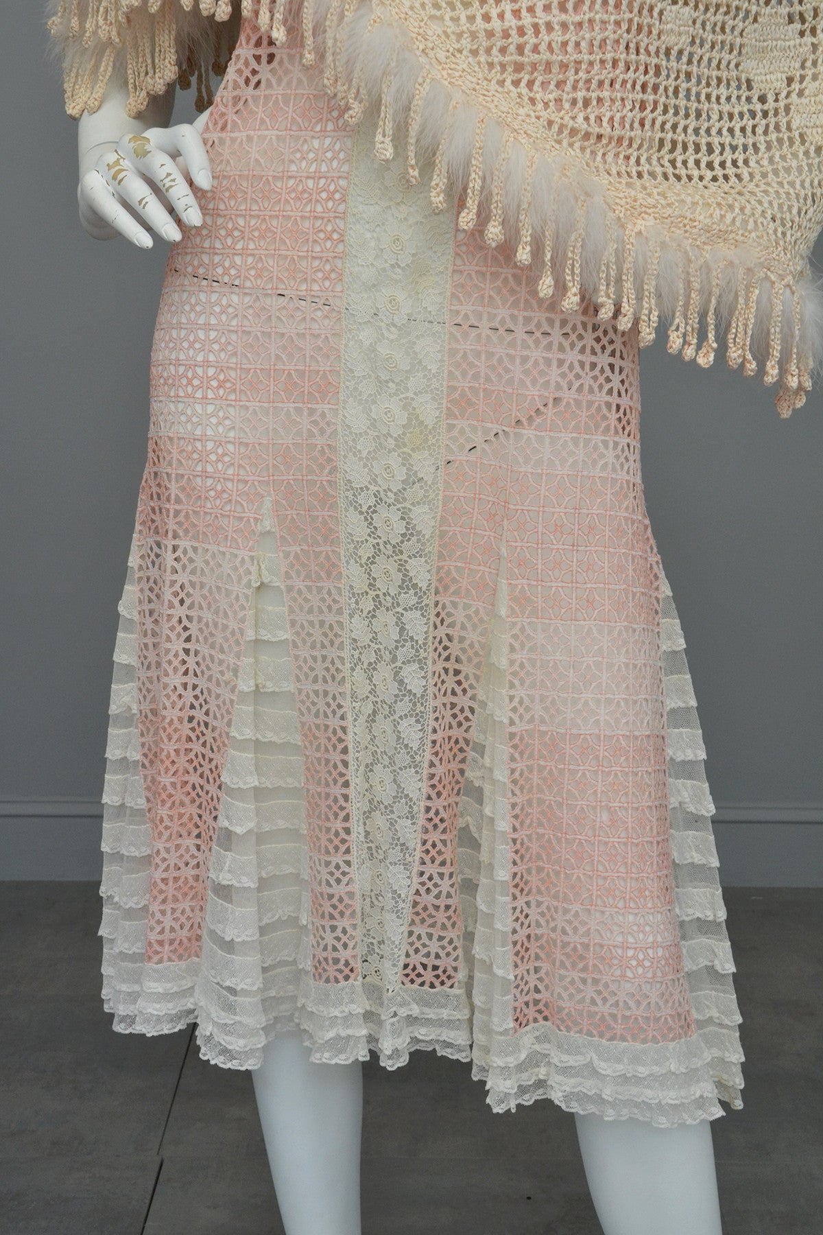 1920s Pink White Eyelet Lace Flapper Dress