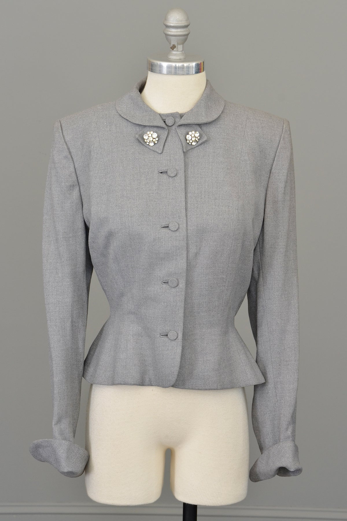 1950s Light Grey Wool Flannel Blazer Jacket, Leslie Fay