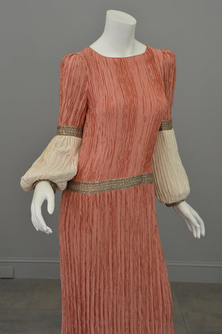 Mary McFadden Coral Cream Fortuny Pleats Bell Sleeve Gown