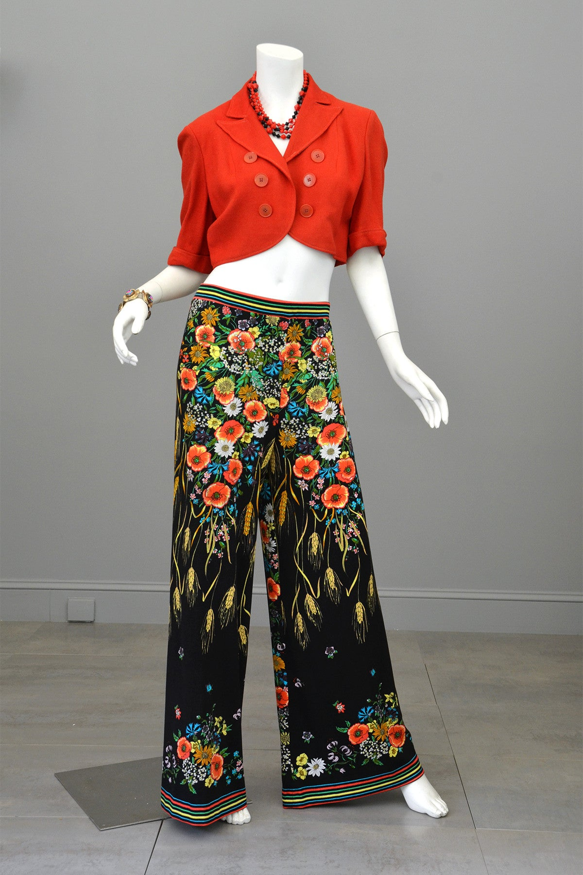 1970s Maurice Novelty Print Jersey Knit Pants and Tunic Wheat Print