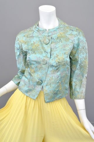 Vintage Cropped Minted Embroidered Shrug Jacket
