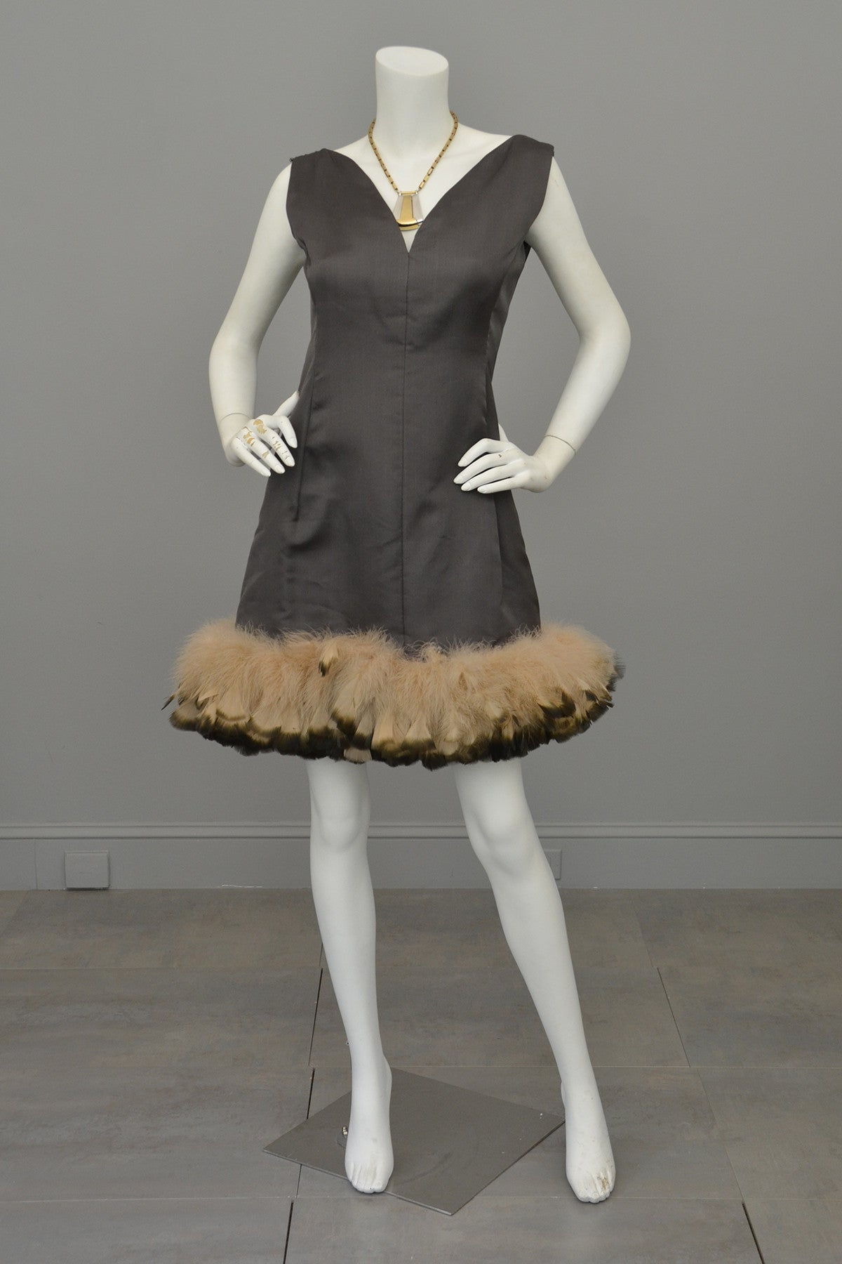 1960s Mocha Feather Trim MOD Mini Dress, Mad Men
