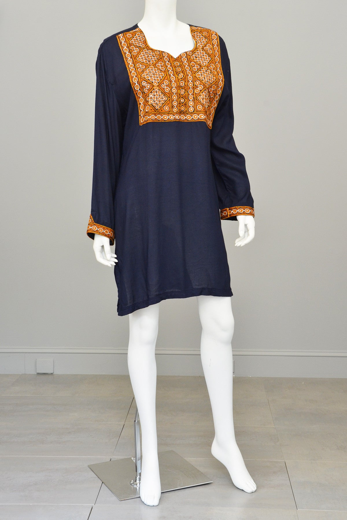Navy Blue Gold Embroidered Mirrors India Tunic, Size L