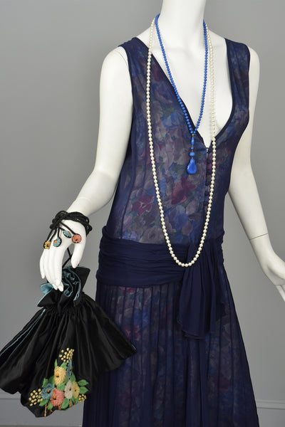 Vintage Plunge Neckline Drop-Waist Pleated Navy Blue Floral Flapper Dress