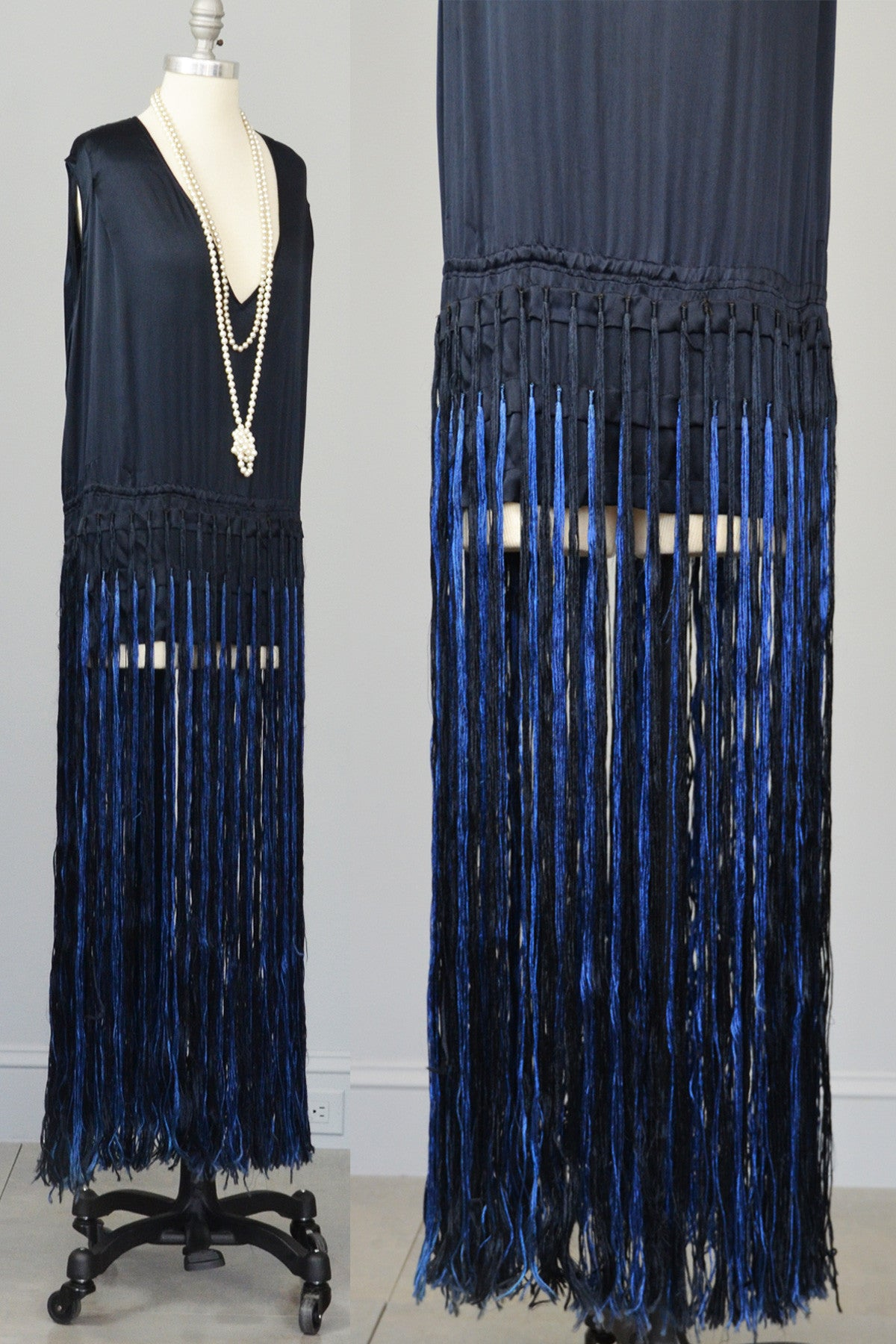 Navy Blue Satin Fringe Flapper Tunic Dress