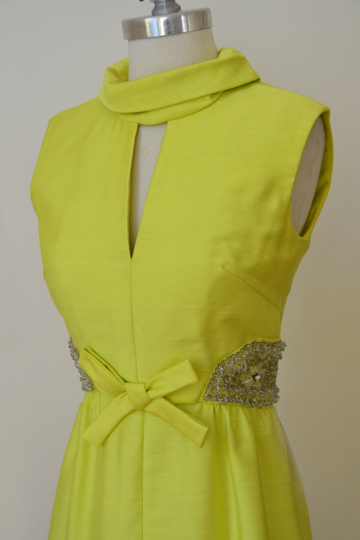 1960s MOD Space Age Keyhole Neckline Neon Green Beaded Vintage Cocktail Dress