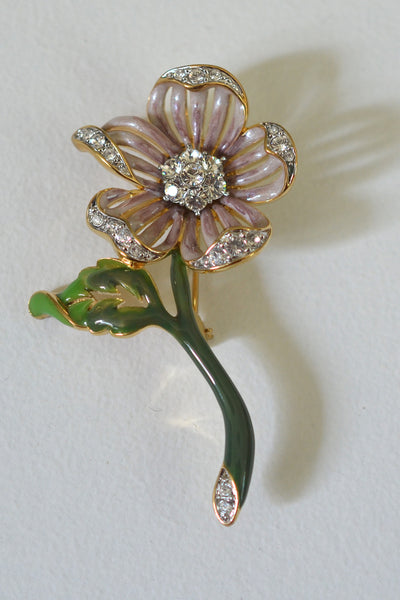 Nolan Miller Rose Mauve Enamel and Crystal Flower Brooch