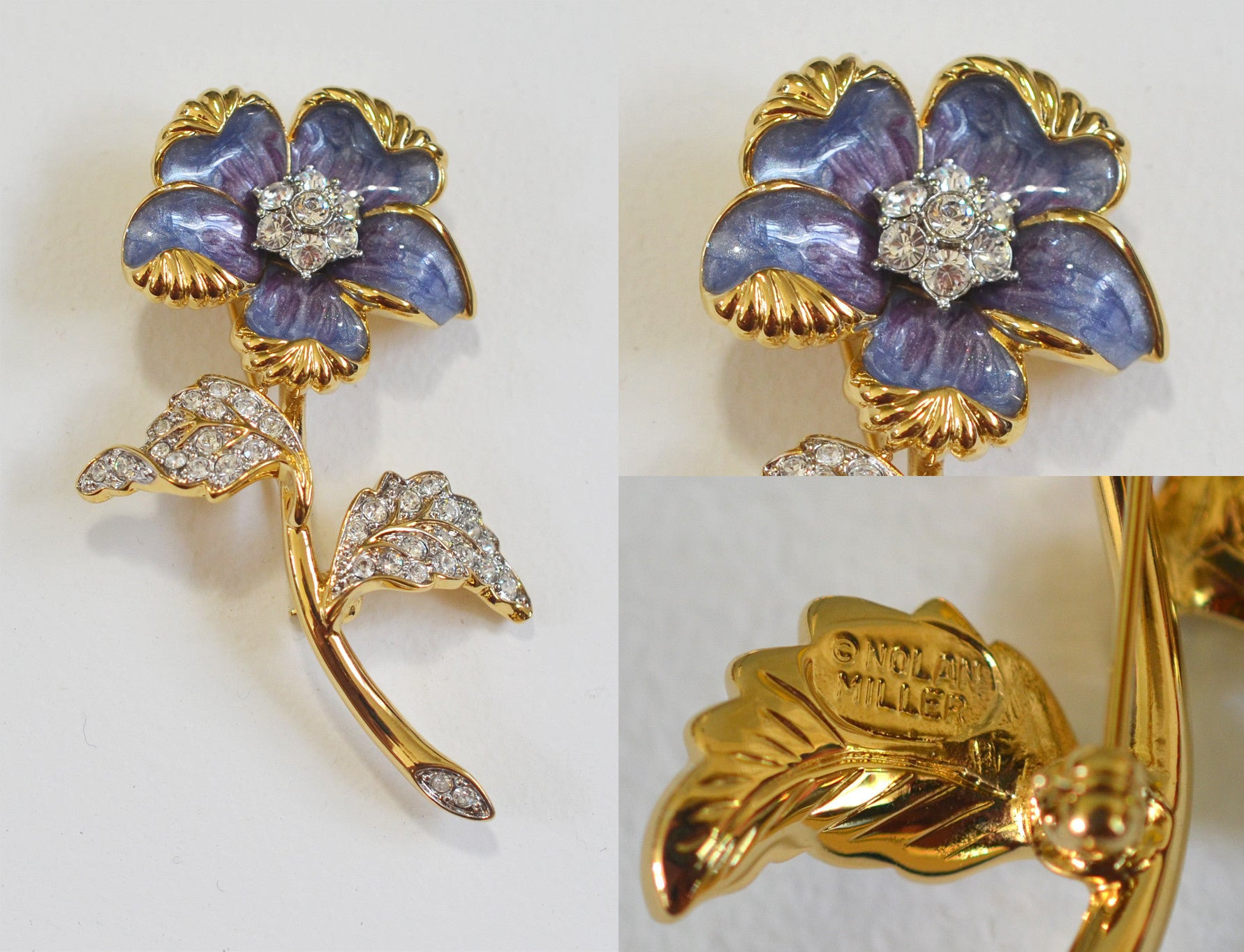 Nolan Miller Purple Enamel and Crystal Flower Brooch