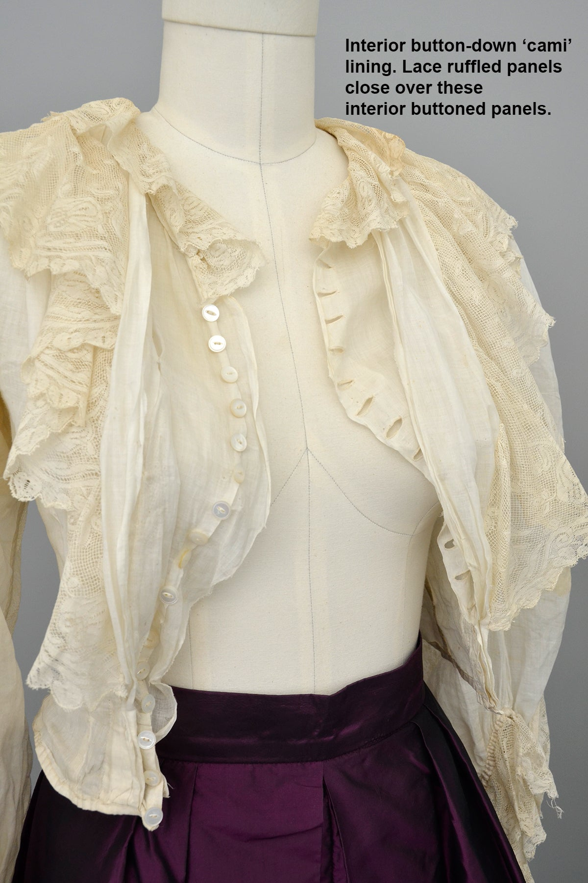 Victorian Off White Bodice with Lace Rose Ruffles and Balloon Sleeves