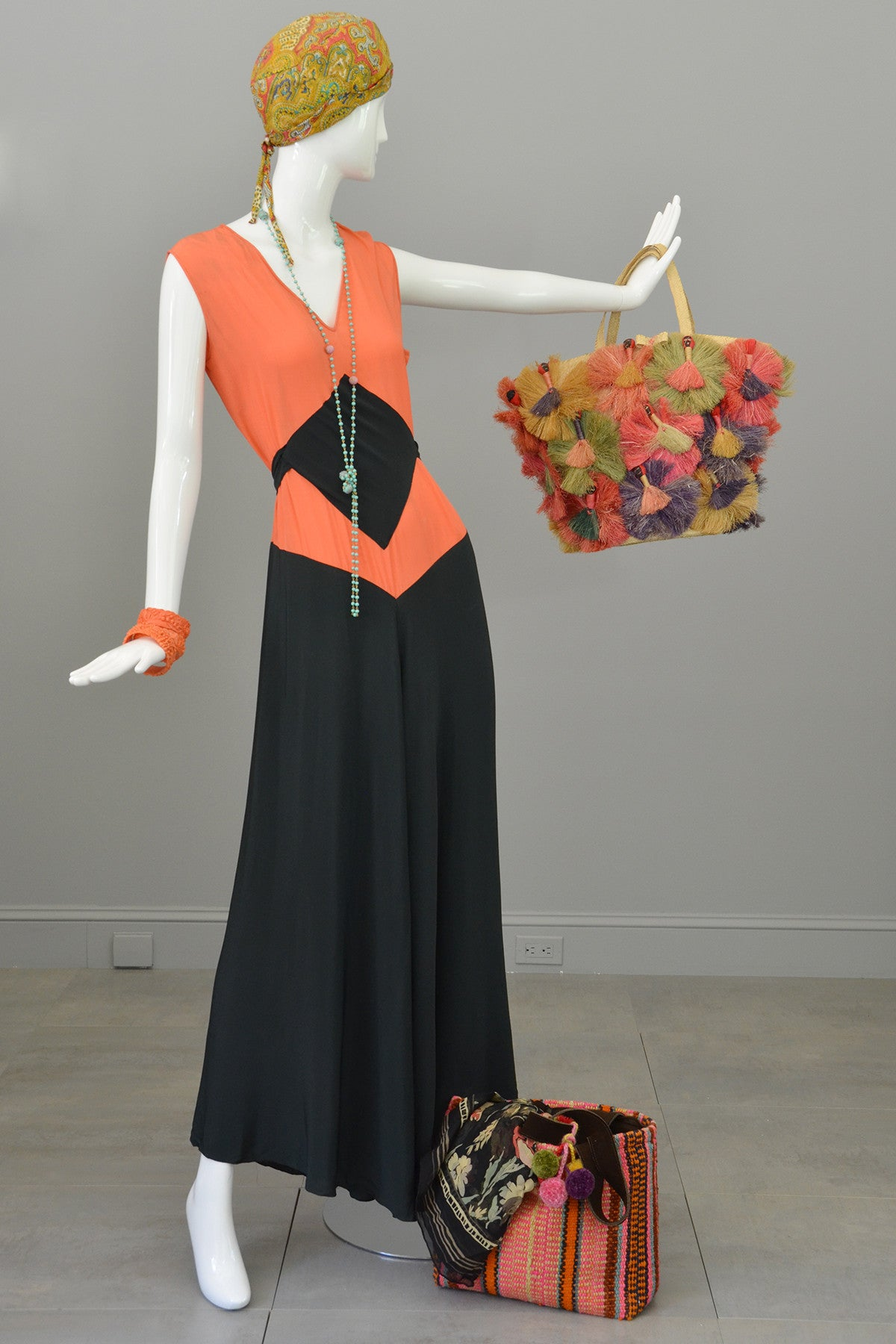 1930s Deco Orange Black Two Piece Beach Pajama Set