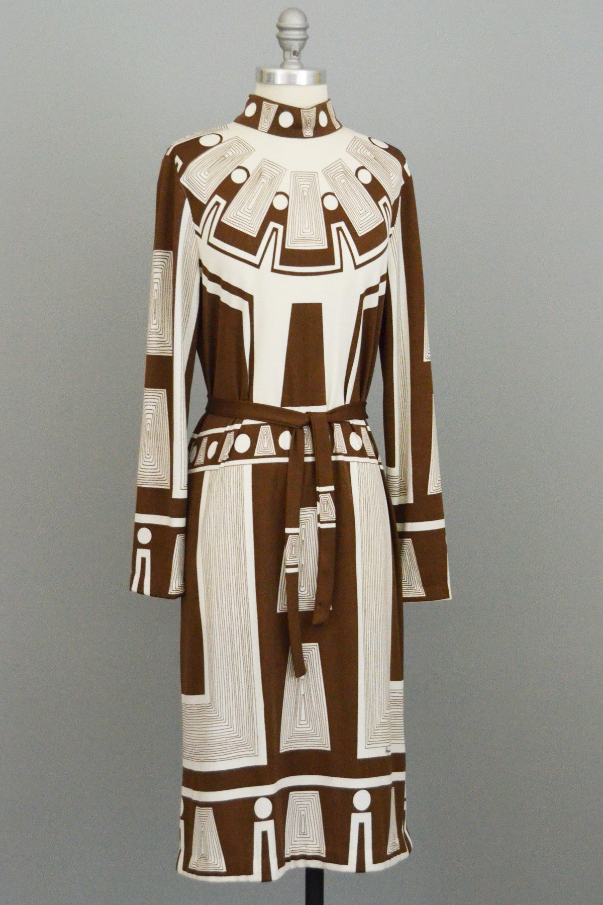 Paganne MOD Vintage Jersey Dress Geometric Egyptian Revival Print
