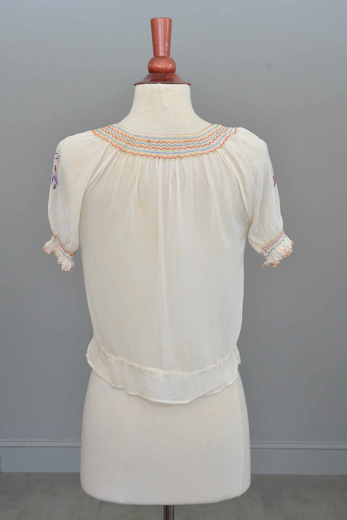 Off White Chiffon Pagoda Embroidered Peasant Top