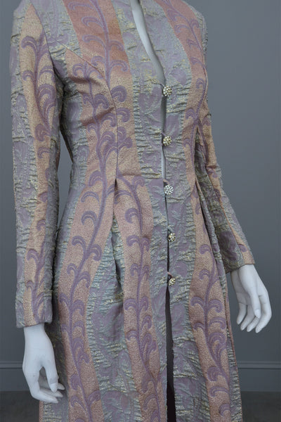 1960s 70s Lurex Brocade Maxi Evening Dress Coat XS