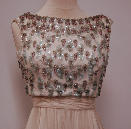 1960s Pearl Chiffon Pewter and Aqua Beaded Vintage Cocktail Party Dress