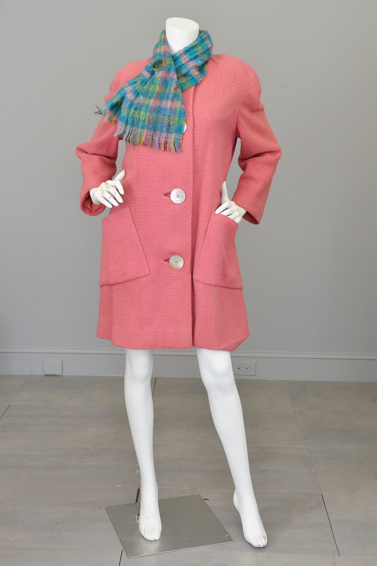 1950s Pink Bouclé Patch Pockets Coat