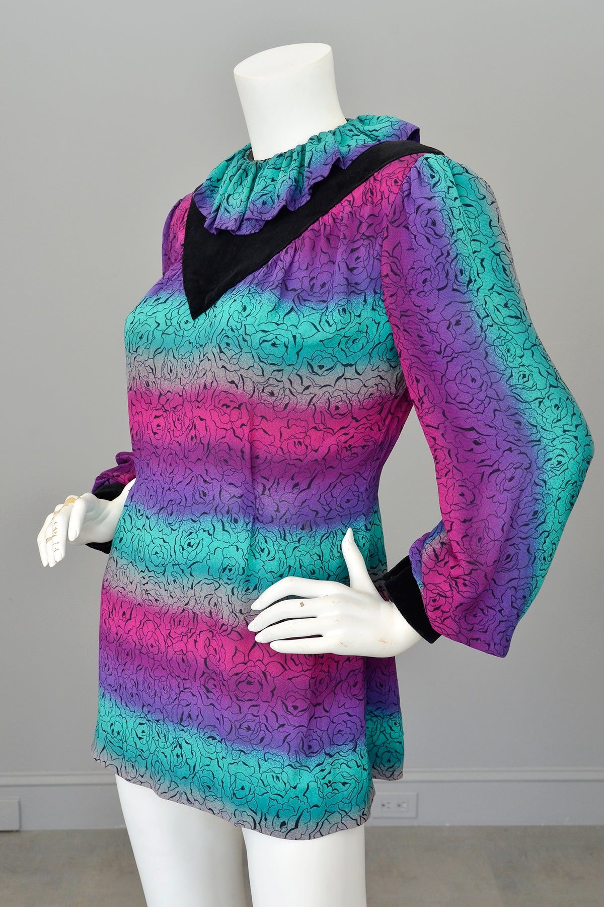 Vintage 70s 80s does 1940s Neon Pink Purple Teal Tunic, Medium