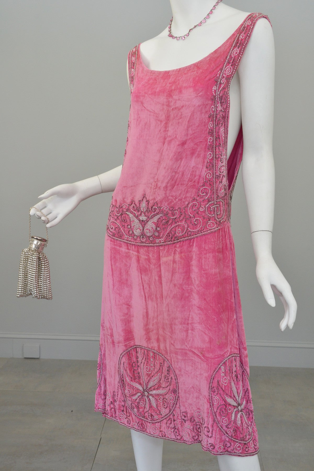 1920s Deco Beaded Flapper Dress and Cut Steel Bag