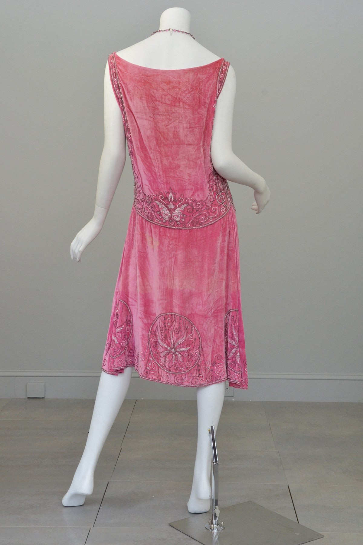 1920s Pink Velvet Deco Beaded Flapper Dress