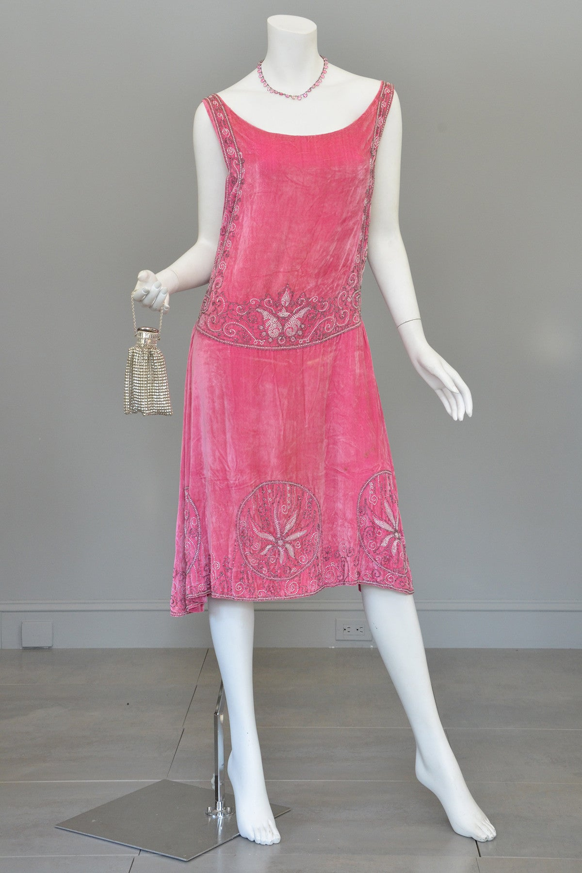 1920s Pink Velvet Deco Beaded Flapper Dress Vintagevirtuosa