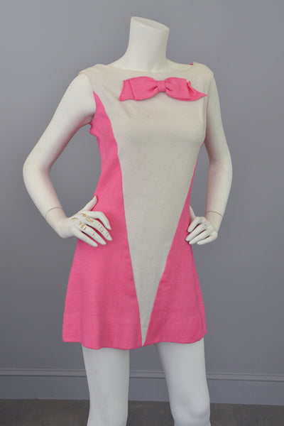 Vintage 1960s Pink White Colorblock Twiggy Micro Mini