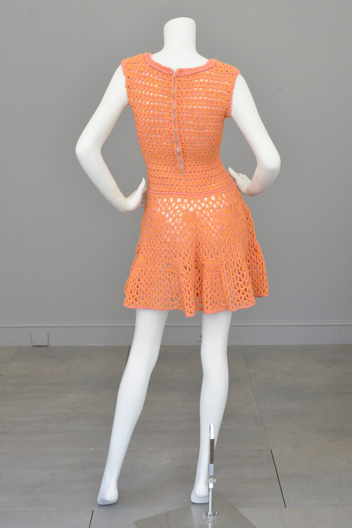 1960s 70s Pink + Yellow = Orange Yarn Crochet Mini Dress