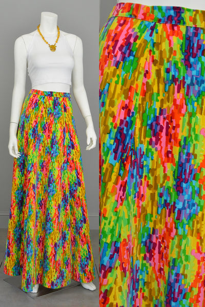 1970s Pixelated Rainbow Maxi Skirt