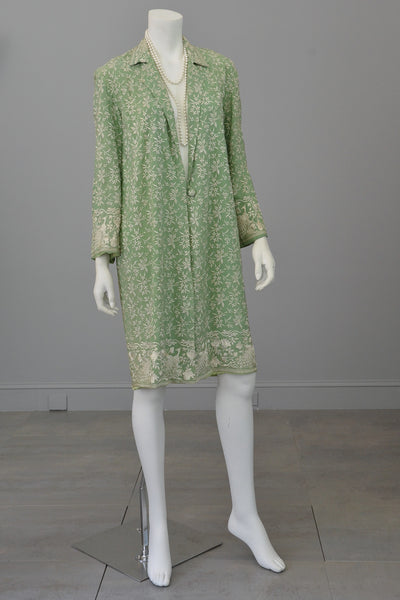 Embroidered Peacocks & Florals Vintage Crepe Duster Evening Coat