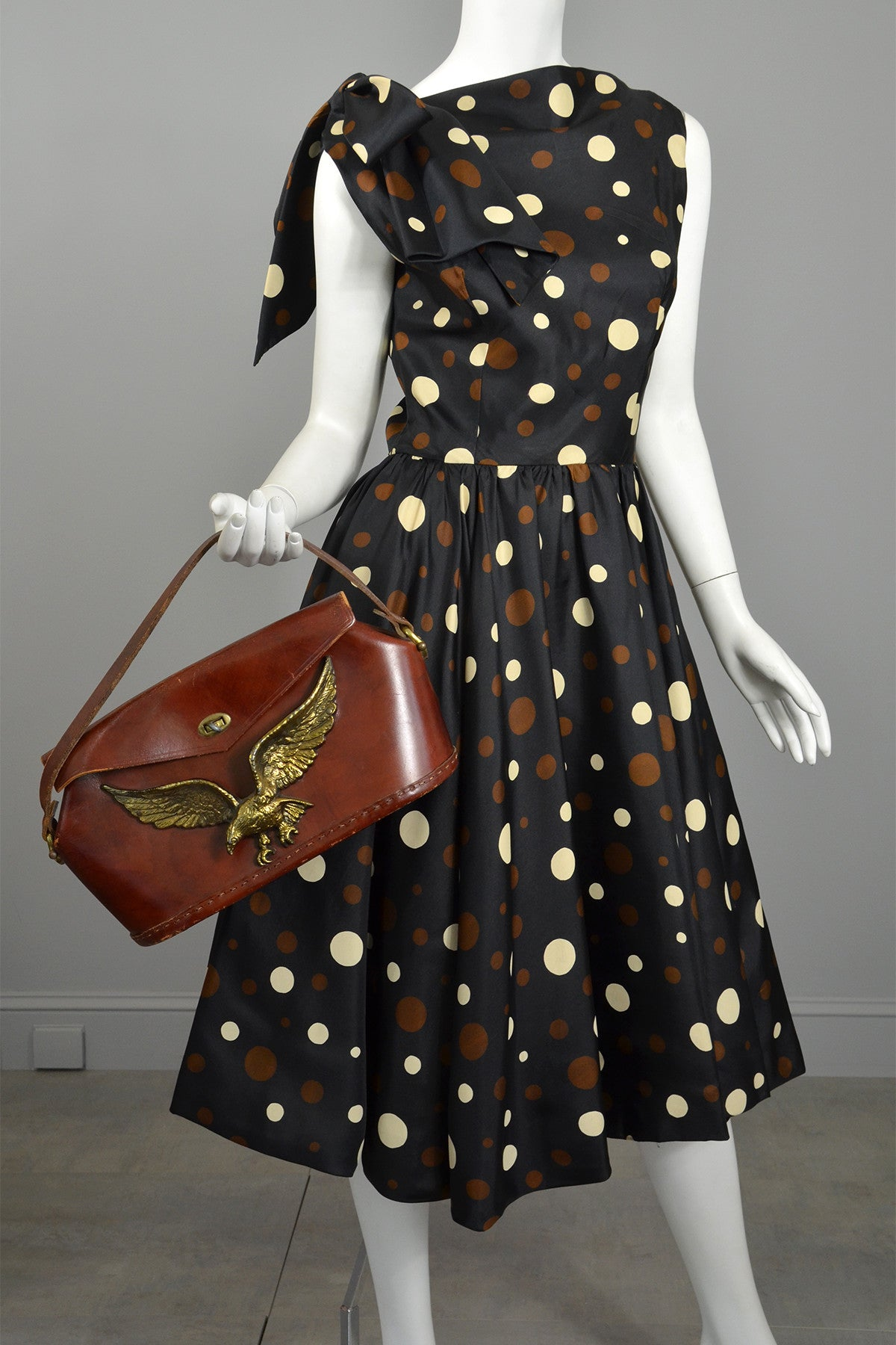 Coming! Vintage 1960s Polka Dot Kitten Bow Fit and Flare Dress
