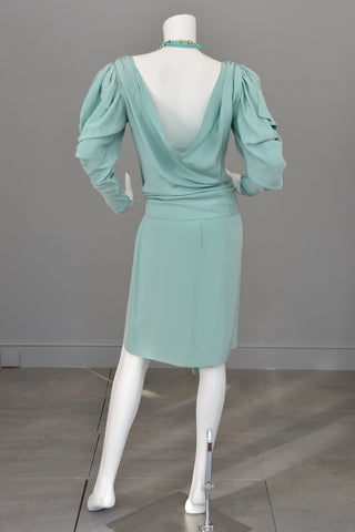 1980s Powder Aqua Blue Drape Back Open Shoulder Dramatic Disco Era Dress