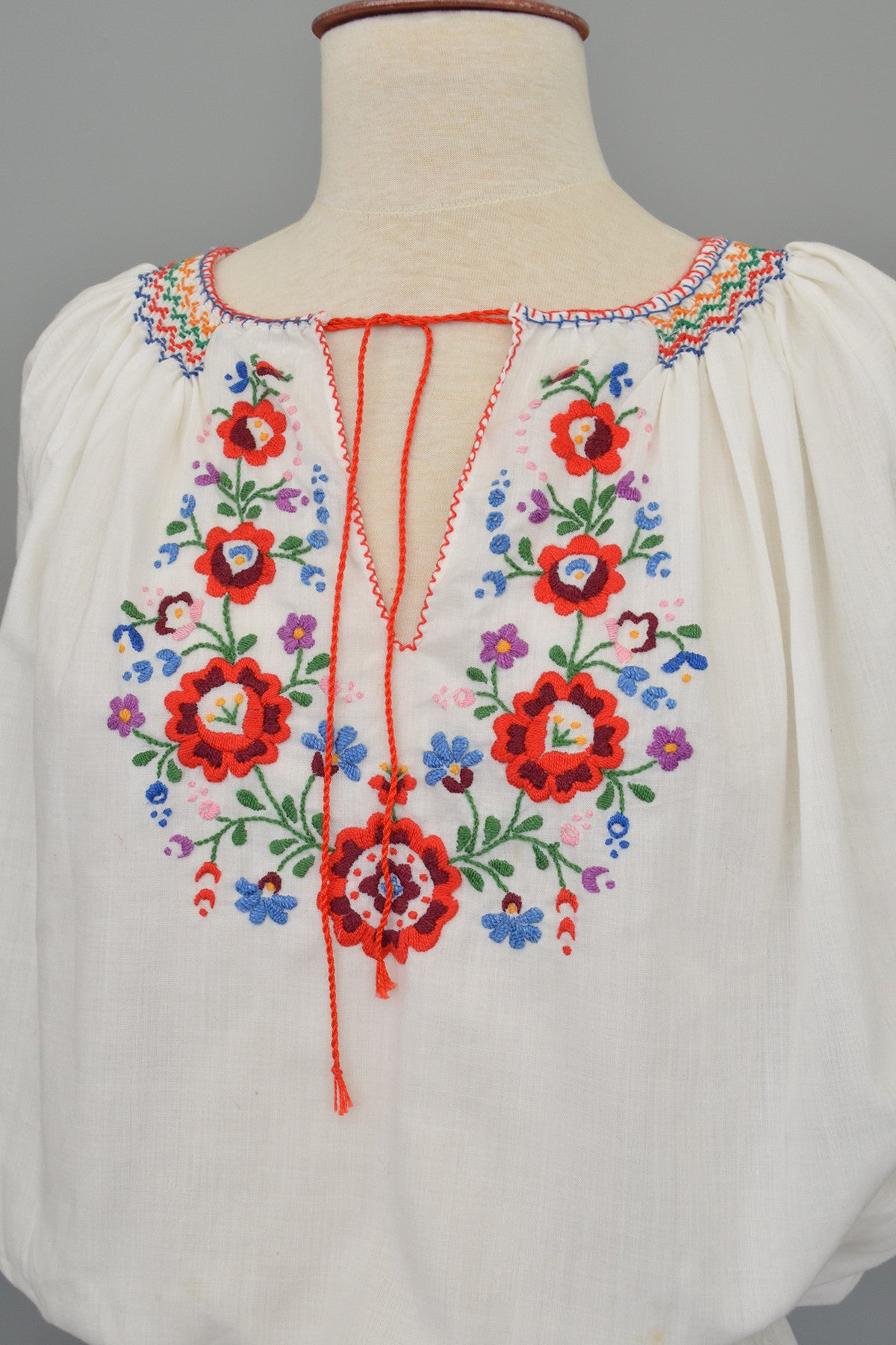 Embroidered Red Blue Flowers Vintage Peasant Top