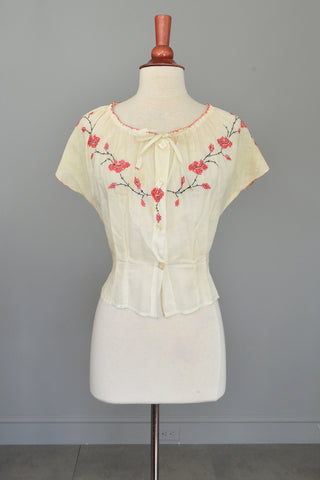 Off White Cotton Peasant Blouse with Red Cross Stitch Embroidery