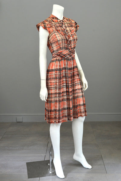 1930s Red Black Plaid Vintage Day Dress