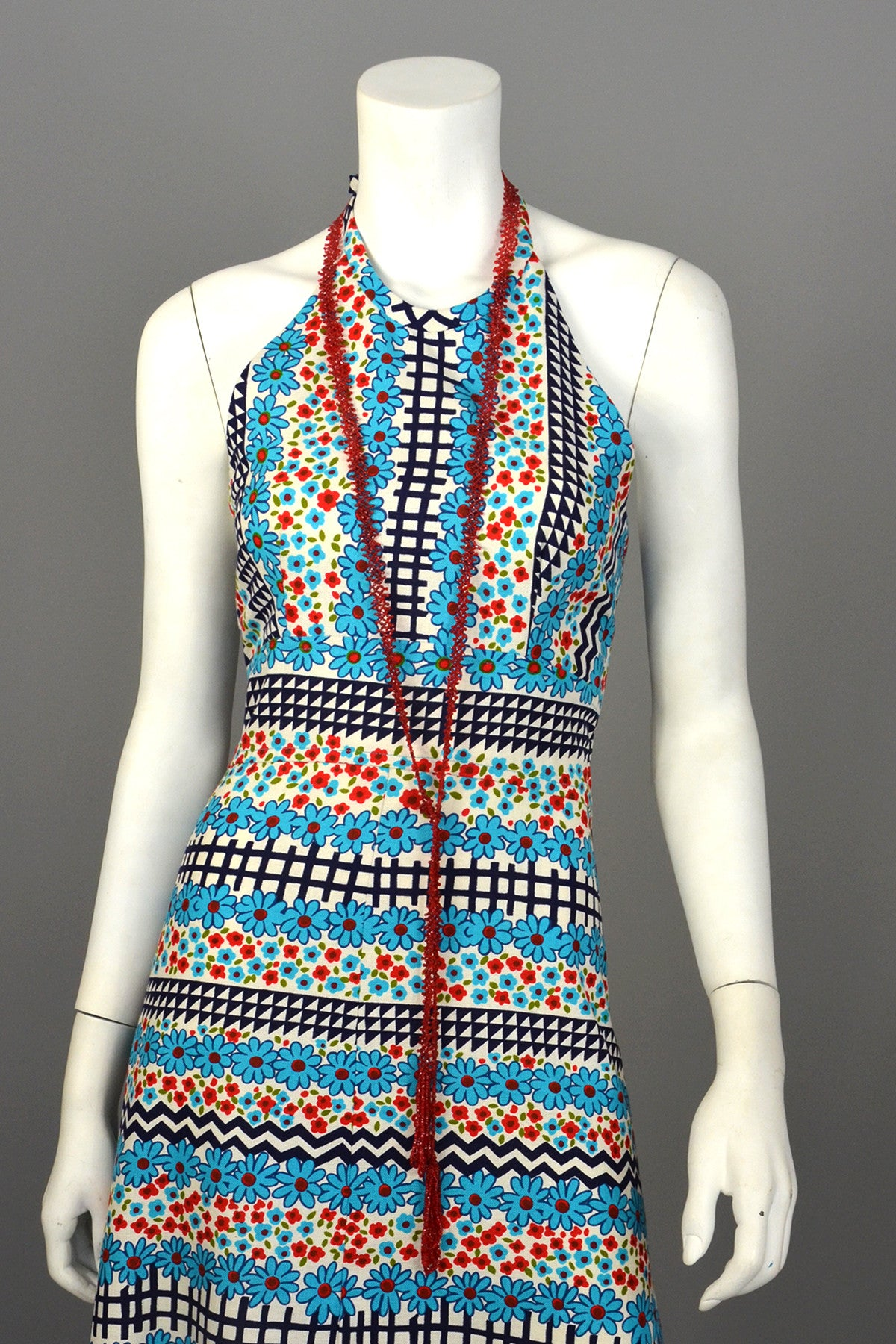 1960's Retro Print Hippie Maxi Halter Dress