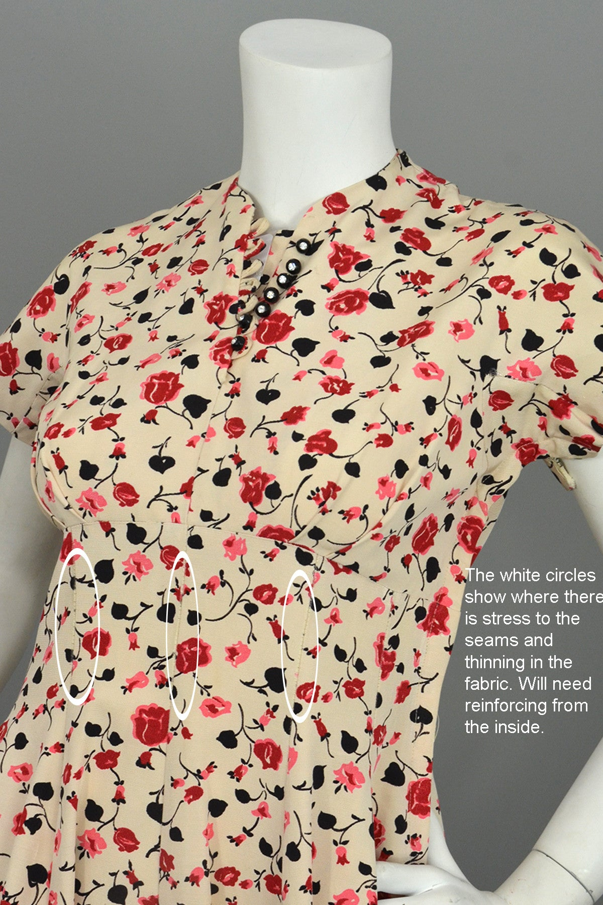 1950s Pink Red Rose Print Fit and Flare Vintage Party Dress