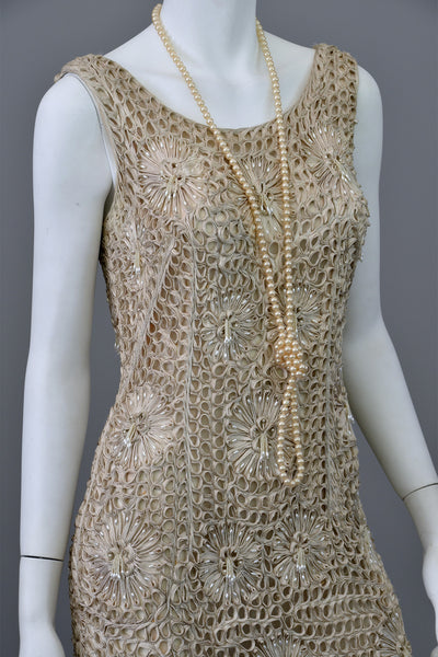 Taupe Ribbon Crochet Dress With Pearl Finge Drops Vintage