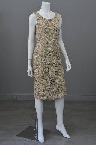 Taupe Ribbon Crochet Dress with Pearl Finge Drops, Vintage Wiggle Cocktail Dress