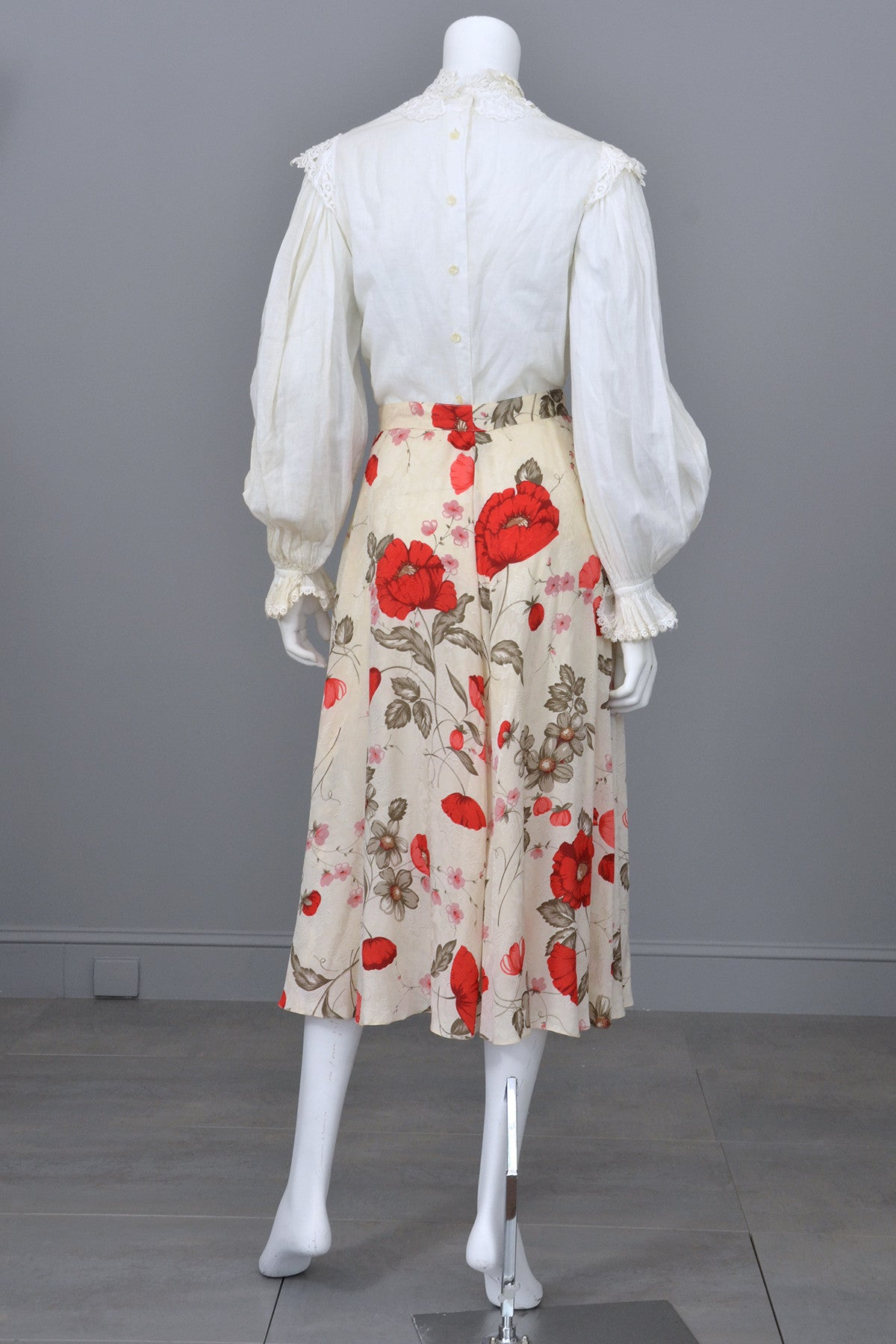Rose Print Silk Button Down Midi Skirt