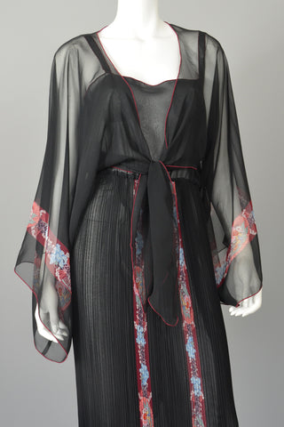 Sheer Black Accordian Pleat Dress Capelet