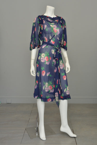 1930s Navy Blue Sheer Crepe Floral Novelty Print Keyhole Dress