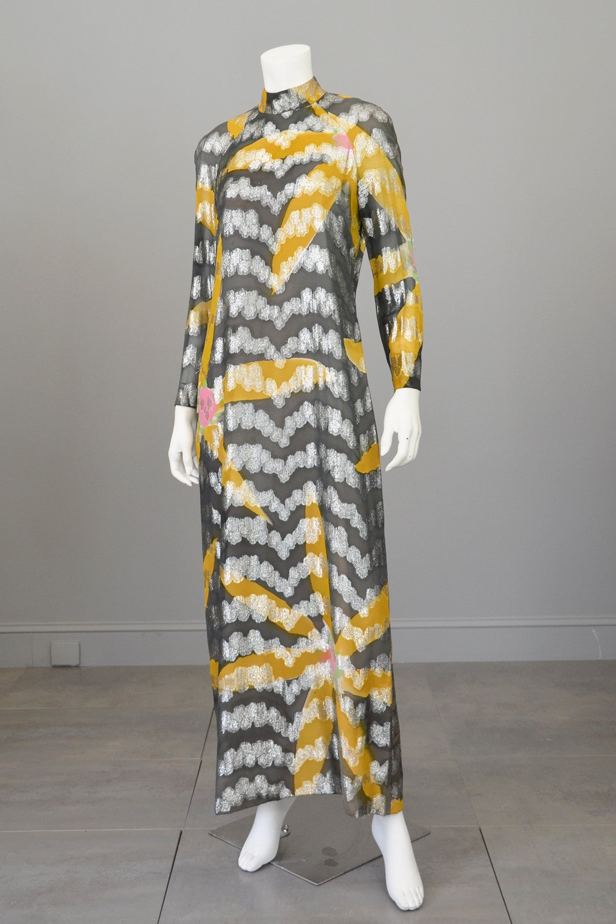 Vintage 70s Silver Lame Goldenrod and Charcoal Retro MOD Maxi Dress