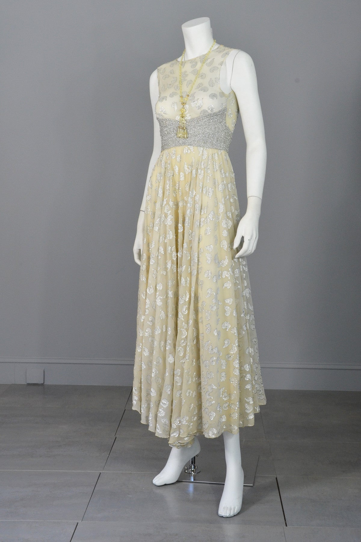 60s 70s Silver Metallic Lame on Cream Chiffon Maxi Dress Gown Adele Simpson