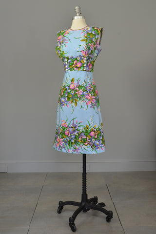 1970s Sky Blue Retro Print Garden Party Dress, Size XS