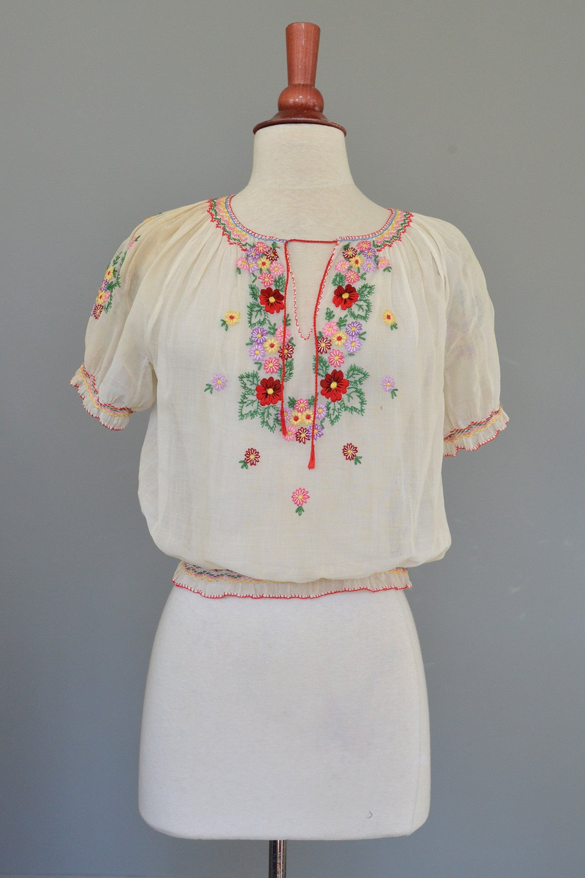 Off White Chiffon Embroidered Spring Flowers Peasant Top