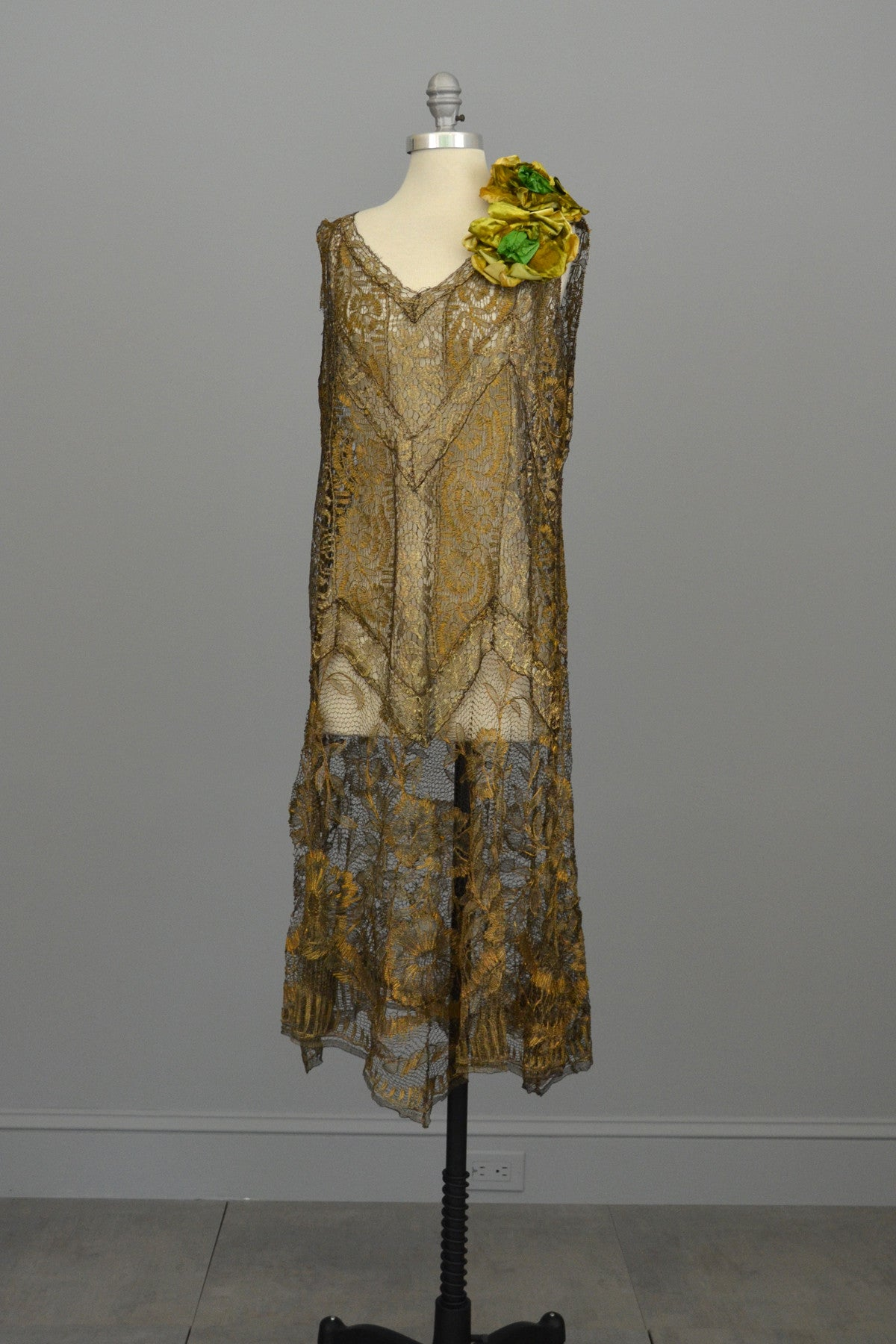 Layaway 1920s Spun Gold Lace Vintage Flapper Dress