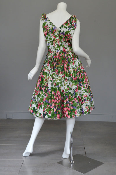 Vintage 50s 60s Strawberry Novelty Print Fit And Flare
