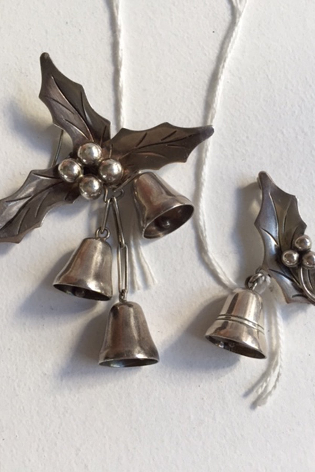 Taxco Holly and Bells Sterling Silver Brooches set of two