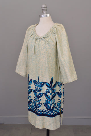 Aqua Blue Tiki Print Beach Dress Tunic