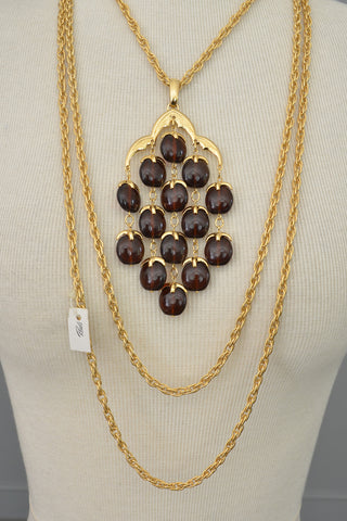 Trifari Rootbeer Waterfall Necklace