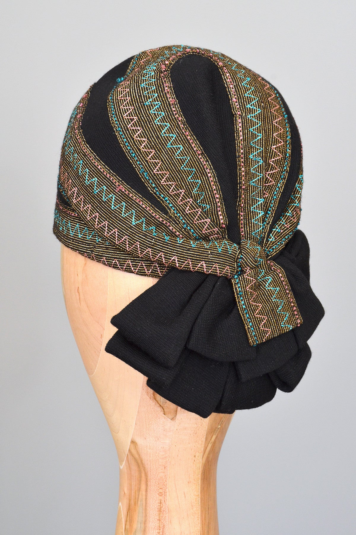 1950s Black Cloche Turban with Blue Pink Gold Metallic Weave
